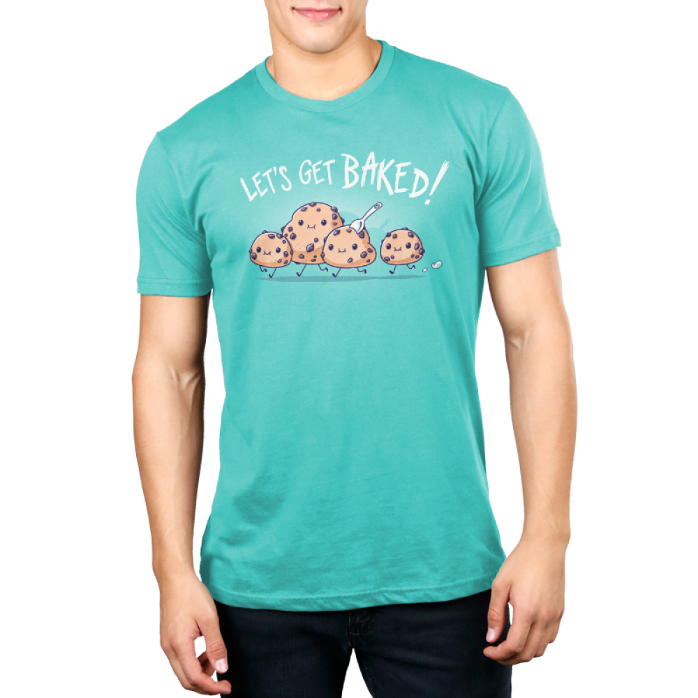 Let's Get Baked Men's t-shirt model TeeTurtle Caribbean blue t-shirt featuring four little cookie dough figures running with big smiles on their faces