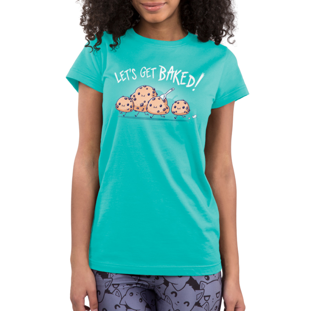 Let's Get Baked Junior's t-shirt model TeeTurtle Caribbean blue t-shirt featuring four little cookie dough figures running with big smiles on their faces