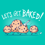 Let's Get Baked t-shirt TeeTurtle Caribbean blue t-shirt featuring four little cookie dough figures running with big smiles on their faces