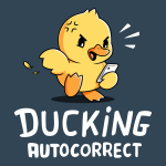 Ducking Autocorrect t-shirt TeeTurtle denim blue t-shirt featuring an upset looking yellow duck holding a phone