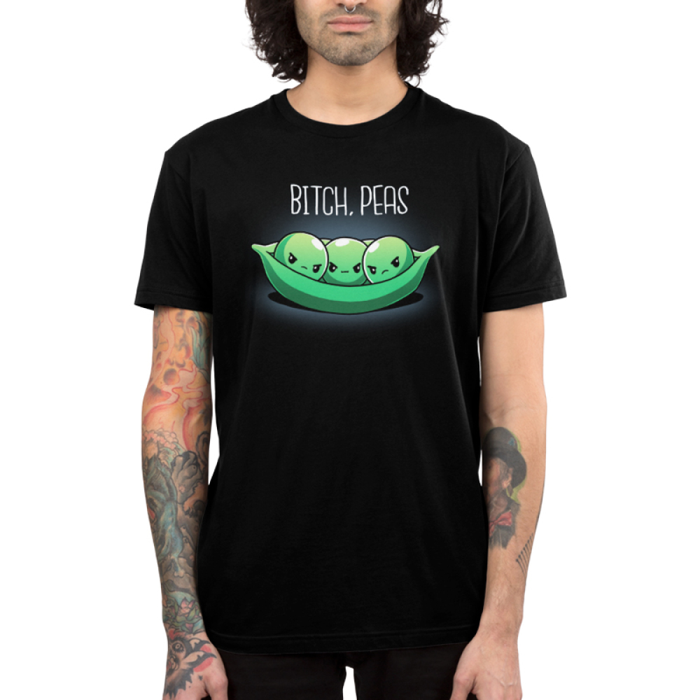Bitch, Peas Men's t-shirt model TeeTurtle black t-shirt featuring three green peas in a pod looking very angry