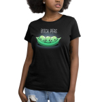 Bitch, Peas Women's t-shirt model TeeTurtle black t-shirt featuring three green peas in a pod looking very angry