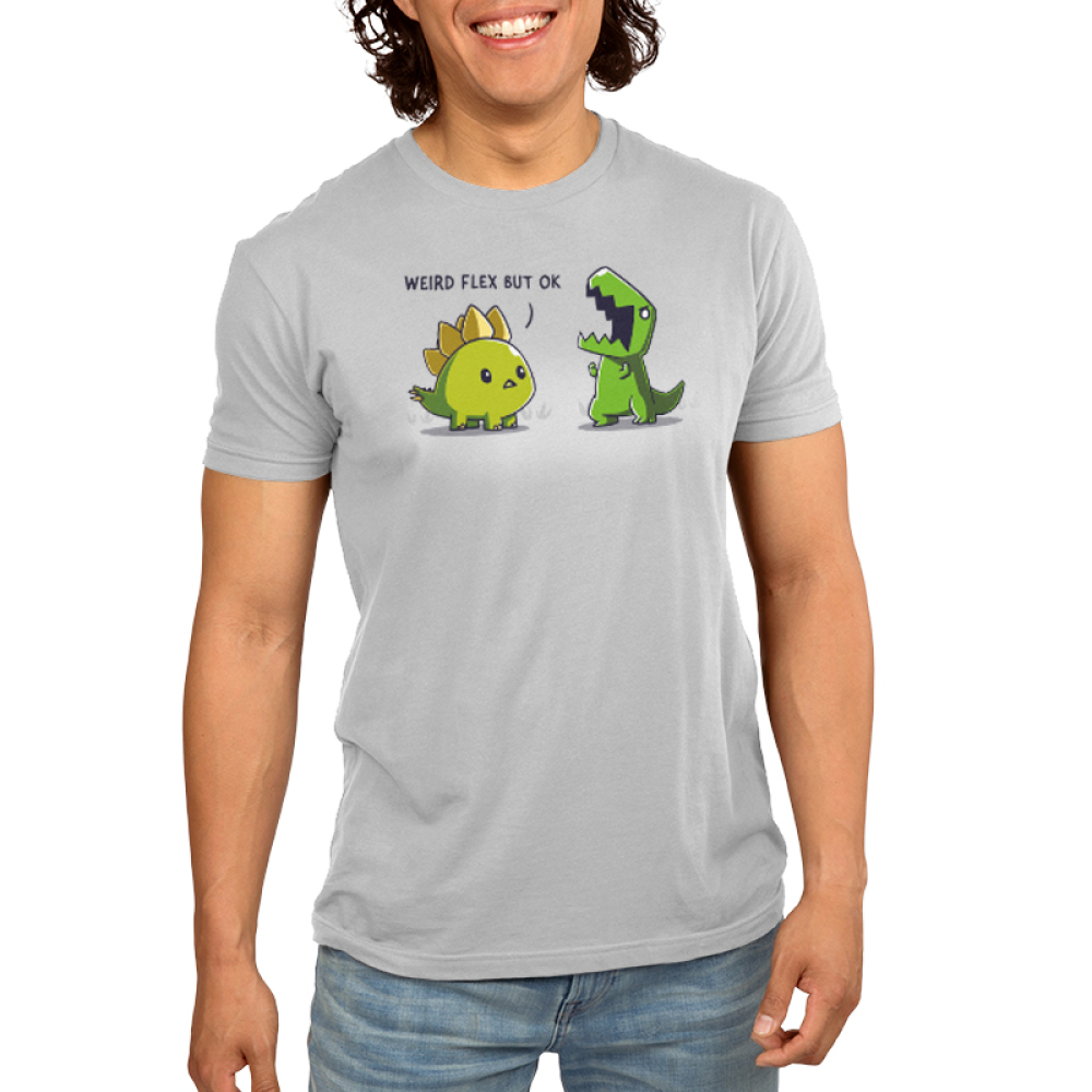 Weird Flex but Okay Men's t-shirt model TeeTurtle silver t-shirt featuring a stegosaurus staring at a t-rex flexing its arms and yelling
