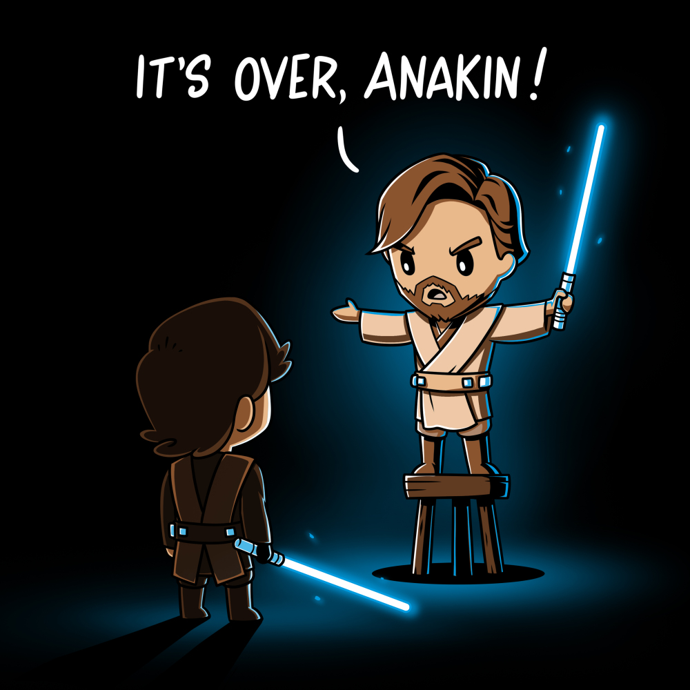 It's Over, Anakin t-shirt officially licensed black t-shirt featuring Obi-Wan on a stool talking down to Anakin with lightsabers drawn