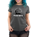Punk Rock Women's t-shirt model TeeTurtle charcoal t-shirt featuring a gray smiling rock with a spiky belt on and a mohawk