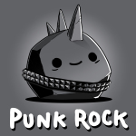 Punk Rock t-shirt TeeTurtle charcoal t-shirt featuring a gray smiling rock with a spiky belt on and a mohawk