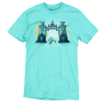 Monsters University tshirt officially licensed caribbean blue tshirt featuring Sulley and Mike standing in front of the gates of monsters university