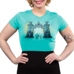 Monsters University Junior's tshirt model officially licensed caribbean blue tshirt featuring Sulley and Mike standing in front of the gates of monsters university