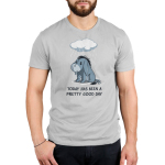 Today Has Been A Pretty Good Day Men's tshirt model officially licensed silver tshirt featuring Eeyore from Winnie the Pooh sitting under a rain cloud