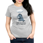 Today Has Been A Pretty Good Day Women's tshirt model officially licensed silver tshirt featuring Eeyore from Winnie the Pooh sitting under a rain cloud