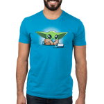 Nevarro Nummies mens tshirt model officially licensed cobalt shirt featuring Grogu eating some snacks he stole from a child