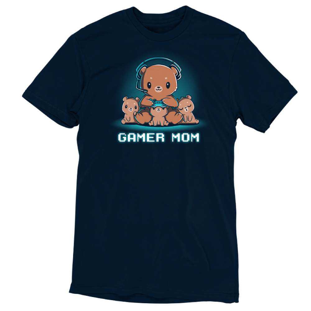 Gamer Mom t-shirt TeeTurtle navy t-shirt featuring a mama cub with a gaming headset on resting her controller on the head of a little cub in her lap with two more cubs on either side of her
