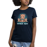 Gamer Mom Women's t-shirt model TeeTurtle navy t-shirt featuring a mama cub with a gaming headset on resting her controller on the head of a little cub in her lap with two more cubs on either side of her