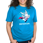 Supermom Standard t-shirt model TeeTurtle cobalt blue t-shirt featuring a mama bunny with a cap flying with a little wrapped baby bunny in her arms and four other little bunnies on her back