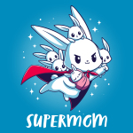 Supermom t-shirt TeeTurtle cobalt blue t-shirt featuring a mama bunny with a cap flying with a little wrapped baby bunny in her arms and four other little bunnies on her back