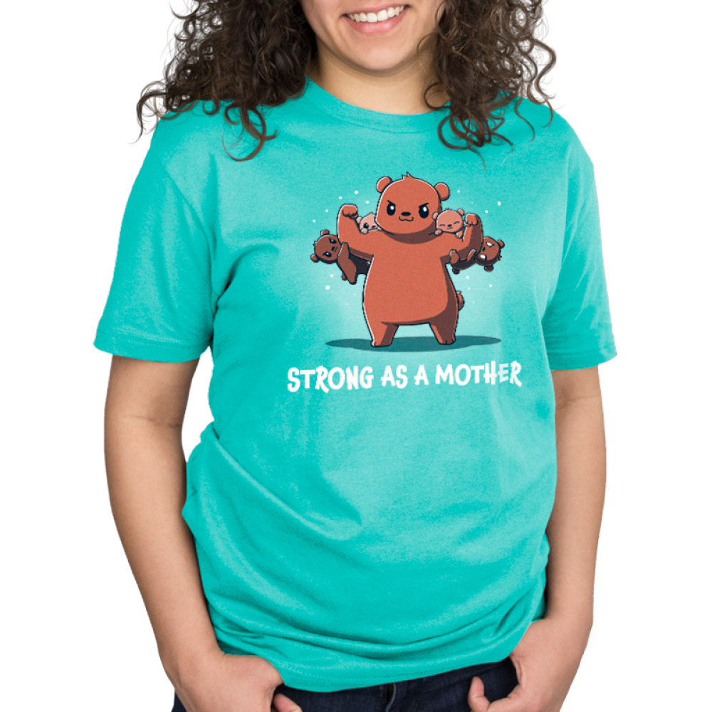 Strong as a Mother Standard t-shirt model TeeTurtle caribbean blue t-shirt featuring a mama brown bear with her arms up flexing with four baby cubs handing on her