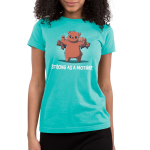 Strong as a Mother Juniors t-shirt model TeeTurtle caribbean blue t-shirt featuring a mama brown bear with her arms up flexing with four baby cubs handing on her