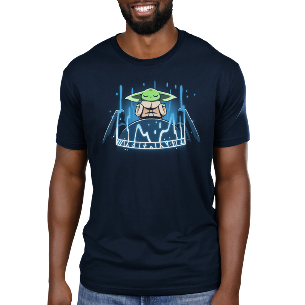 The Seeing Stone mens tshirt model officially licensed navy tshirt featuring Grogu connecting to the force on the seeing stone