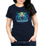 The Seeing Stone womens tshirt model officially licensed navy tshirt featuring Grogu connecting to the force on the seeing stone