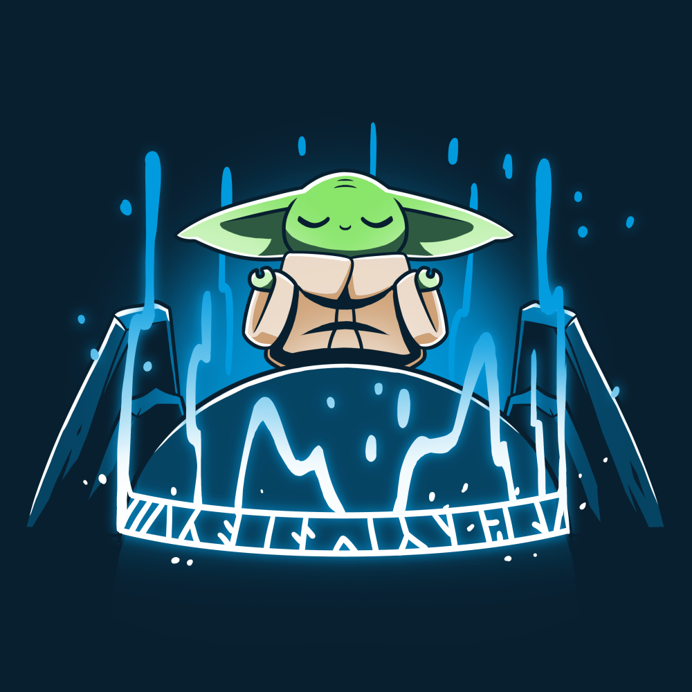 The Seeing Stone tshirt officially licensed navy tshirt featuring Grogu connecting to the force on the seeing stone