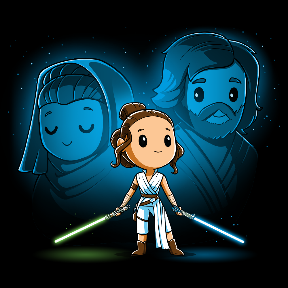 Rey, Luke, and Leia tshirt officially licensed black tshirt featuring Rey with Luke and Leia's force ghosts behind her