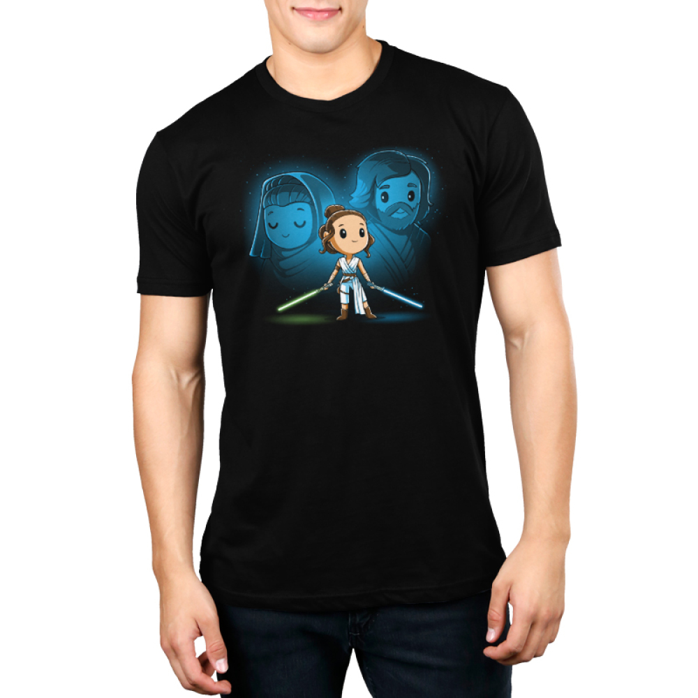 Rey, Luke, and Leia mens tshirt model officially licensed black tshirt featuring Rey with Luke and Leia's force ghosts behind her