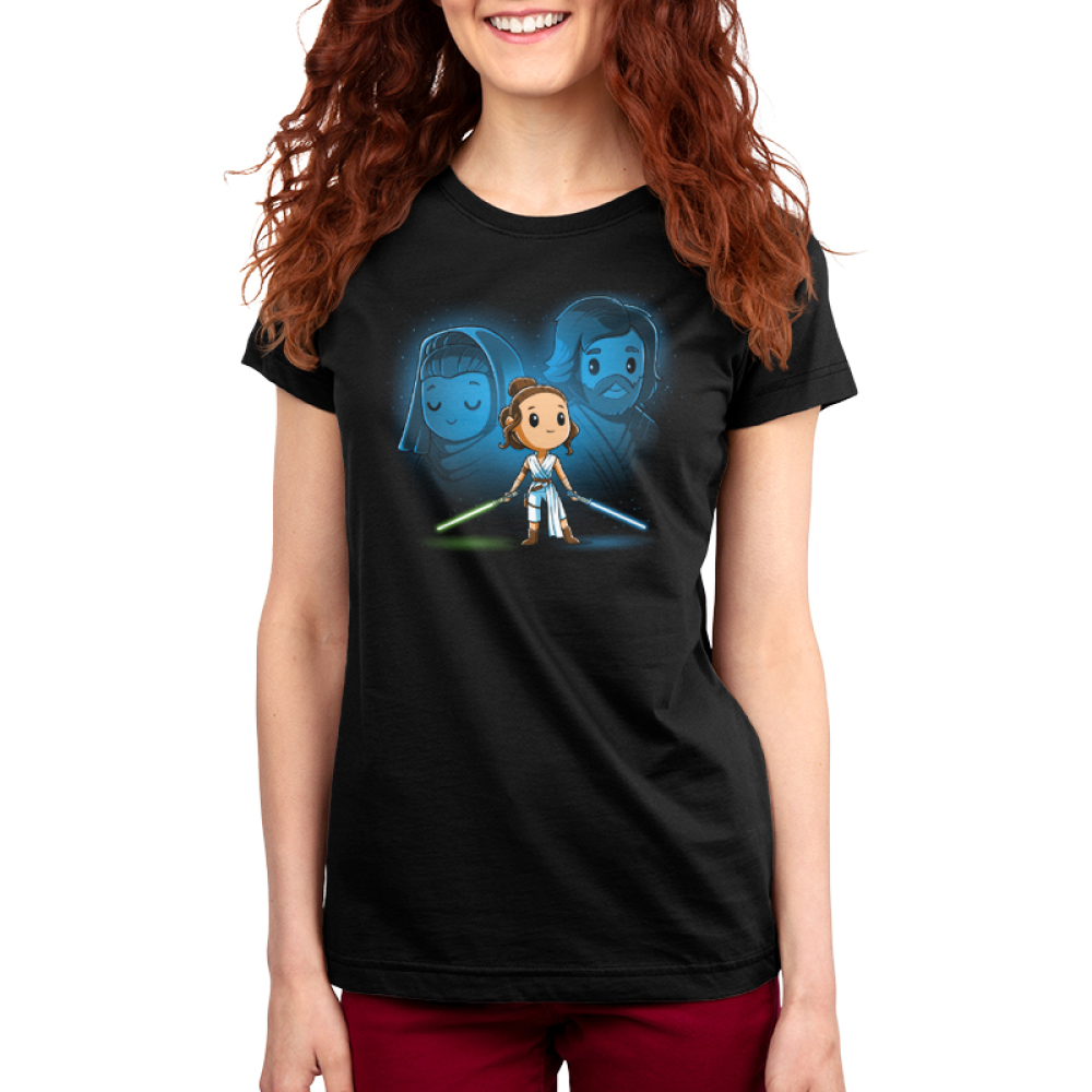 Rey, Luke, and Leia womens tshirt model officially licensed black tshirt featuring Rey with Luke and Leia's force ghosts behind her