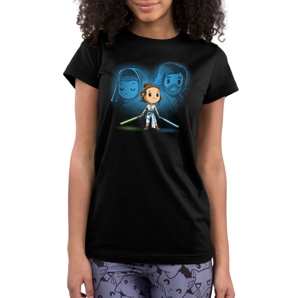 Rey, Luke, and Leia juniors tshirt model officially licensed black tshirt featuring Rey with Luke and Leia's force ghosts behind her