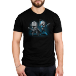 Mando and Bo Katan mens tshirt model officially licensed black tshirt featuring Mando and Bo Katan back to back and ready to fight