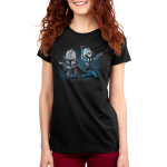 Mando and Bo Katan womens tshirt model officially licensed black tshirt featuring Mando and Bo Katan back to back and ready to fight