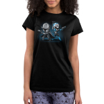 Mando and Bo Katan juniors tshirt model officially licensed black tshirt featuring Mando and Bo Katan back to back and ready to fight