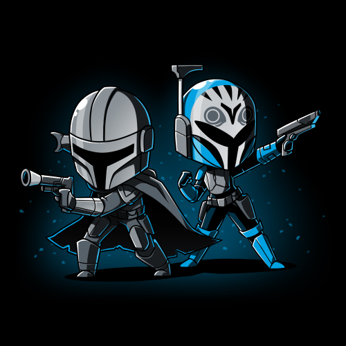 Mando and Bo Katan tshirt officially licensed black tshirt featuring Mando and Bo Katan back to back and ready to fight