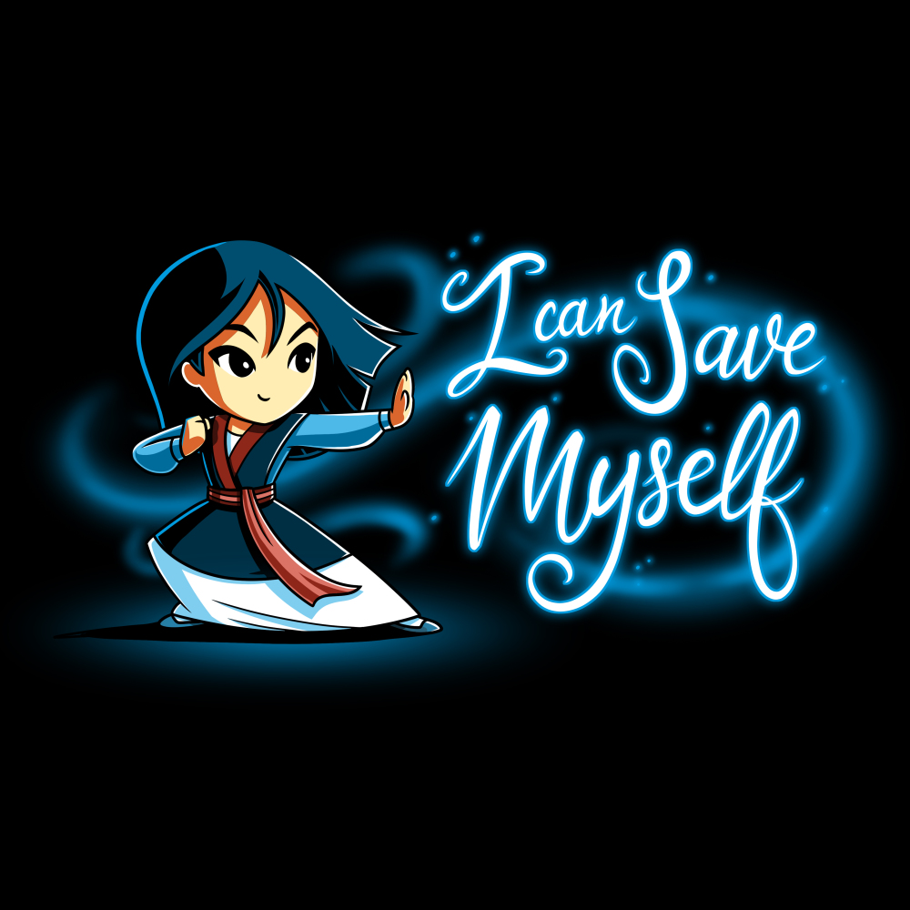 I can save myself tshirt officially licensed black tshirt featuring mulan in fighting stance