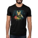 Bifrost Bridge mens tshirt model officially licensed black tshirt featuring loki on the bridge to asgard