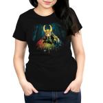 Bifrost Bridge womens tshirt model officially licensed black tshirt featuring loki on the bridge to asgard