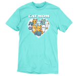 I'm a Cat Mom t-shirt TeeTurtle cobalt blue t-shirt featuring a white heart with 9 different cats in the middle