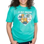 I'm a Cat Mom Standard t-shirt model TeeTurtle cobalt blue t-shirt featuring a white heart with 9 different cats in the middle
