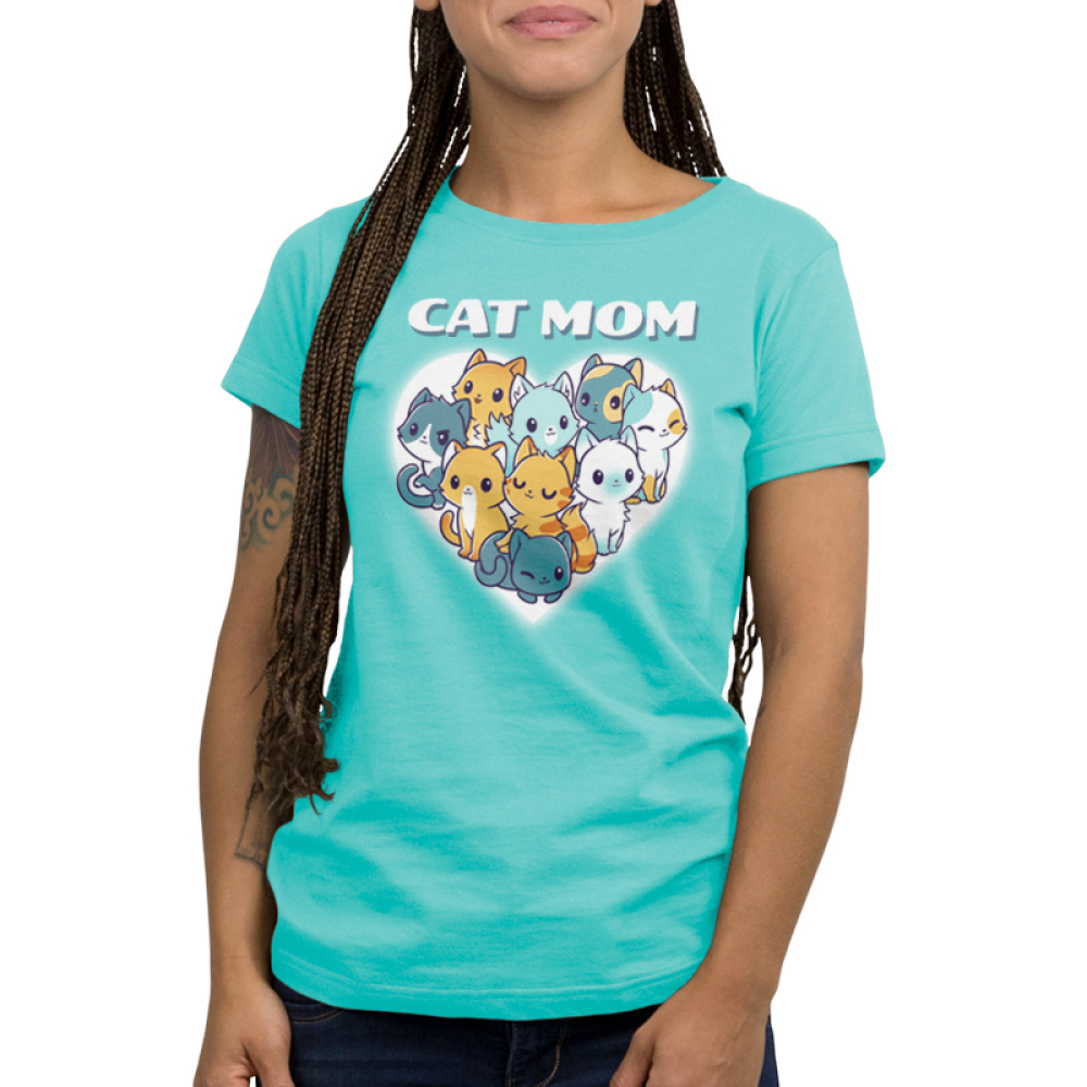 I'm a Cat Mom Women's t-shirt model TeeTurtle cobalt blue t-shirt featuring a white heart with 9 different cats in the middle