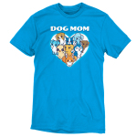 I'm a Dog Mom t-shirt TeeTurtle cobalt blue t-shirt featuring a white heart with 9 different dogs in the middle