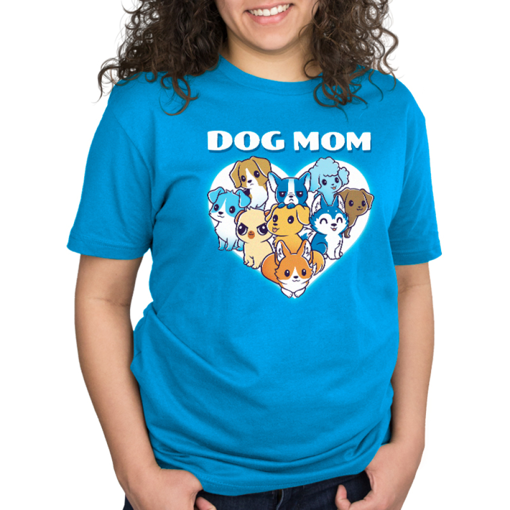 I'm a Dog Mom Standard t-shirt model TeeTurtle cobalt blue t-shirt featuring a white heart with 9 different dogs in the middle