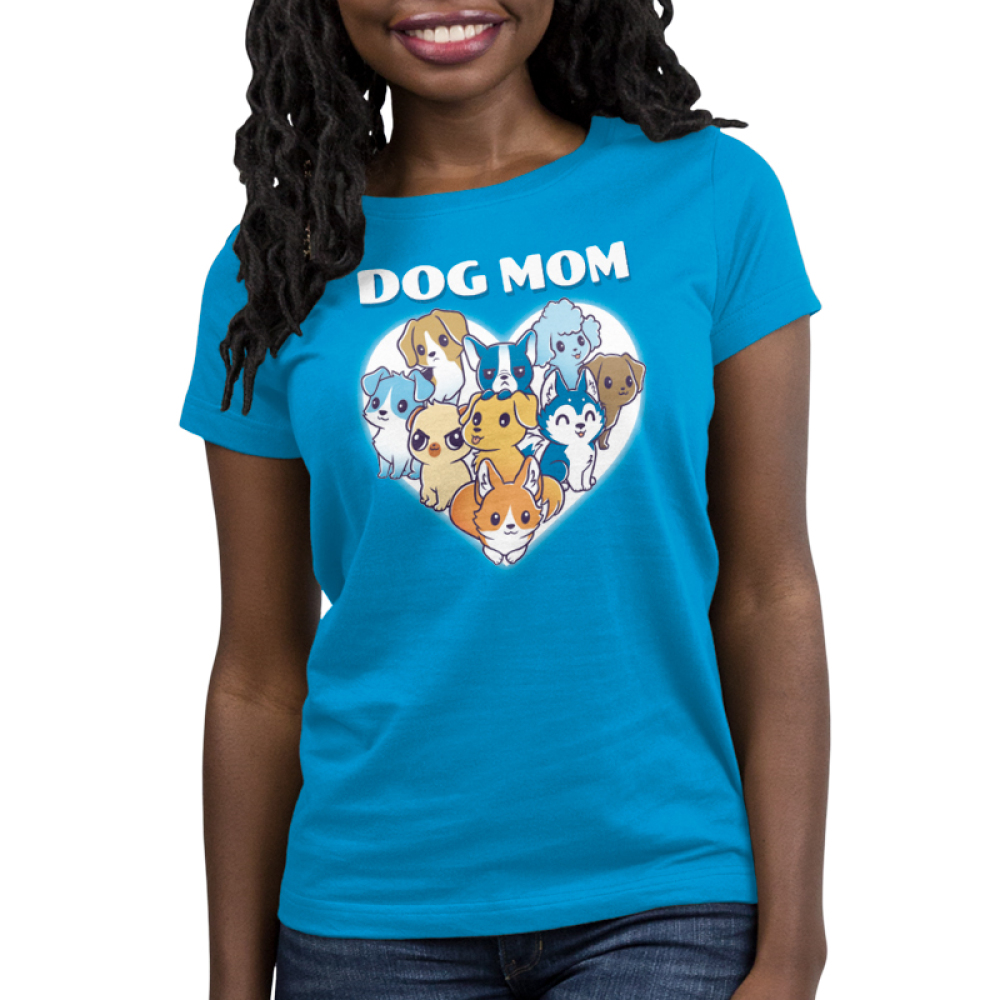 I'm a Dog Mom Women's t-shirt model TeeTurtle cobalt blue t-shirt featuring a white heart with 9 different dogs in the middle