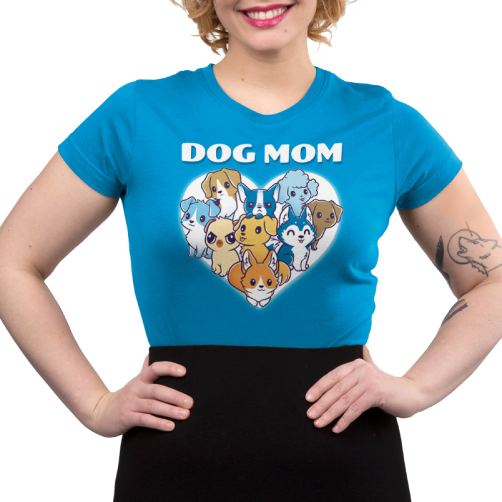 I'm a Dog Mom Juniors t-shirt model TeeTurtle cobalt blue t-shirt featuring a white heart with 9 different dogs in the middle