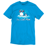 I'm a Cool Mom t-shirt TeeTurtle cobalt blue t-shirt featuring a mama penguin in pink sunglasses on a floating ice burg holding the hand of a baby penguin holding a lolly pop