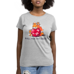 Roll for Patience Women's t-shirt model TeeTurtle silver t-shirt featuring a fox looking warn out on top of a gaming dice with 3 baby foxes climbing all around