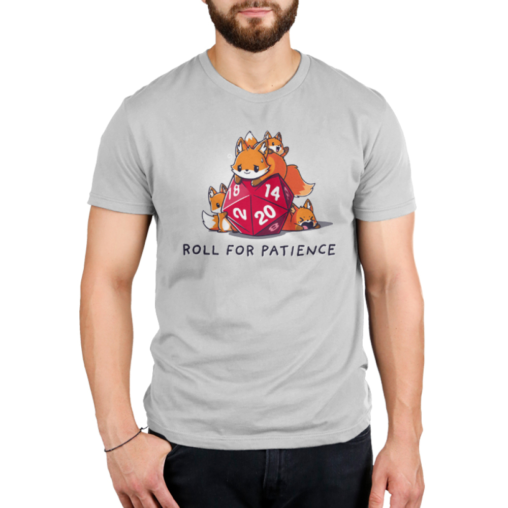 Roll for Patience Men's t-shirt model TeeTurtle silver t-shirt featuring a fox looking warn out on top of a gaming dice with 3 baby foxes climbing all around