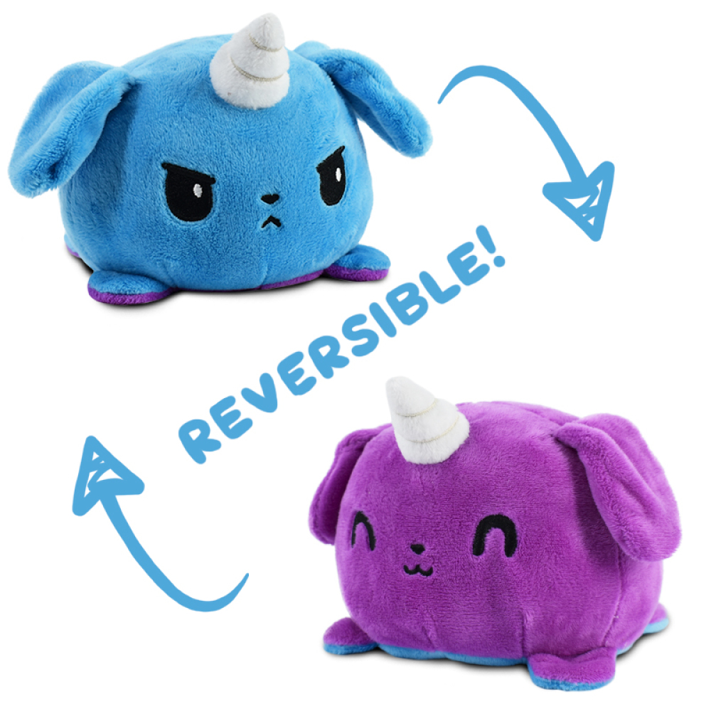 Reversible Puppicorn Plushie featuring an angry blue puppicorn that flips into a happy purple puppicorn.