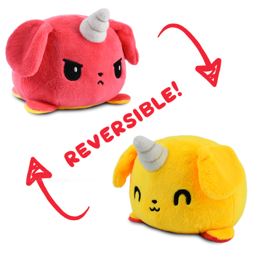 Reversible Puppicorn Plushie featuring an angry red puppicorn that flips into a happy yellow puppicorn.