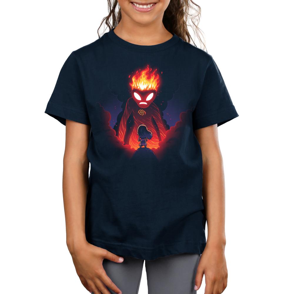 Moana and Te Ka kids t-shirt model officially licensed navy t-shirt featuring Moana and Te Ka the volcano