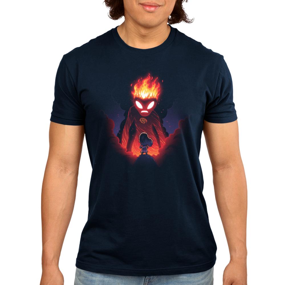 Moana and Te Ka mens t-shirt model officially licensed navy t-shirt featuring Moana and Te Ka the volcano