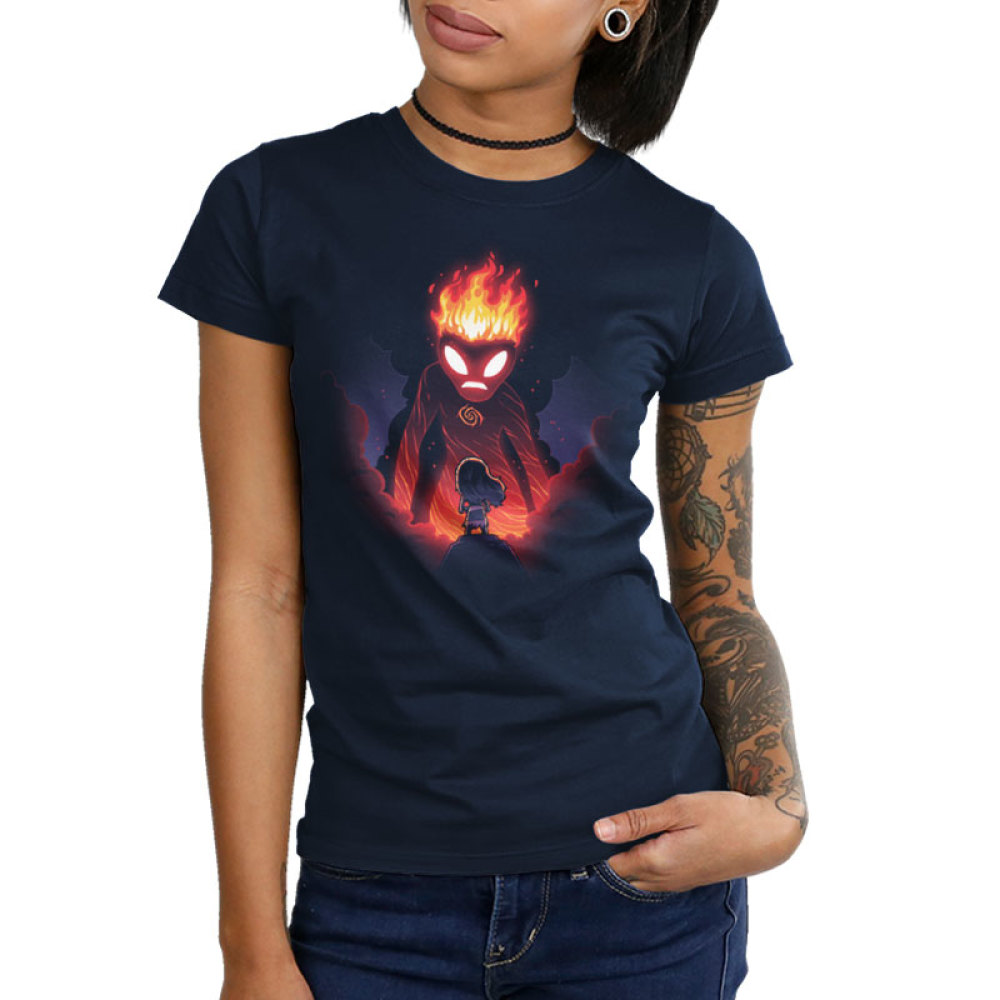 Moana and Te Ka juniors t-shirt model officially licensed navy t-shirt featuring Moana and Te Ka the volcano